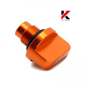 تصویر درپوش گیج روغن موتور سیکلت دوک یه رنگ نارنجی و جنس فلز آلومینیوم در مرکز فروش لوازم یدکی موتور سنگین شیراز KTM Duke Oil Drain Plug Screw