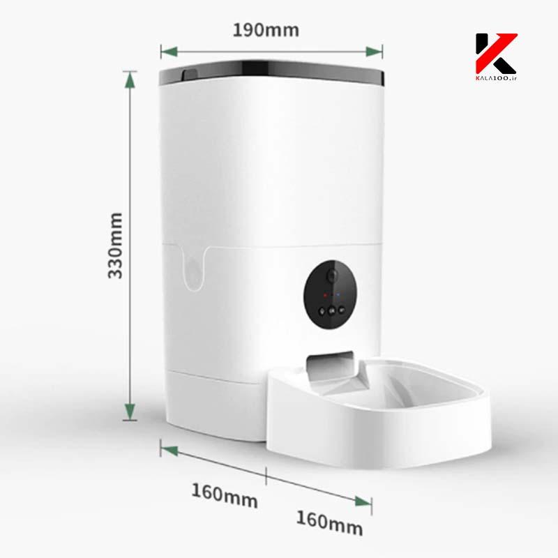 ابعاد پت فیدر دوربین دار 6 لیتری