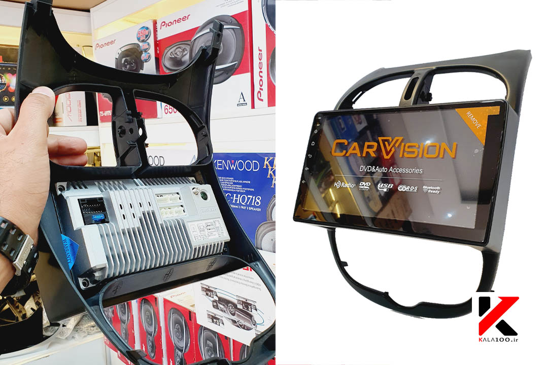 نمای پشت و دو تصویر از مانیتور کارویژن خودرو 206